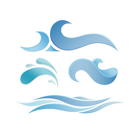 Set of Blue Sea Waves. Vector icon Elements. Ocean Water Icons.