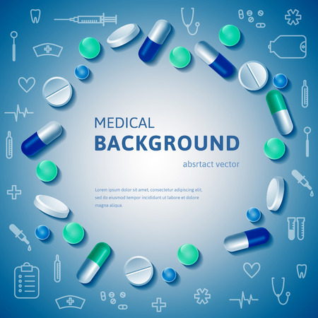 Abstract medical circle posed banner with realistic pills and outline medical supplies. Vector illustration.