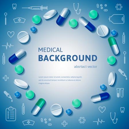 pastillas: Círculo medicina Abstracto planteaba pancarta con píldoras realistas y delinear suministros médicos. Ilustración del vector. Vectores