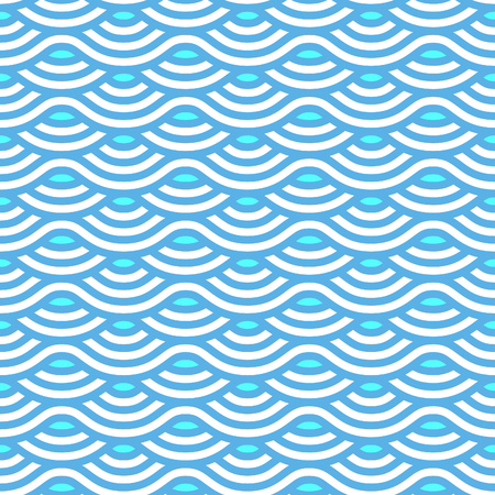 blue waves: Abstract blue waves seamless pattern. Vector scale texture. Linear background. Vettoriali