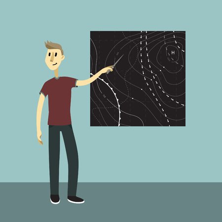 meteorologist: Weather news reporter at work. Vector illustration. Young man show the weather map. Illustration