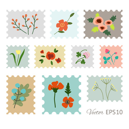 Retro set of the postage stamps with flowers. Vector illustration