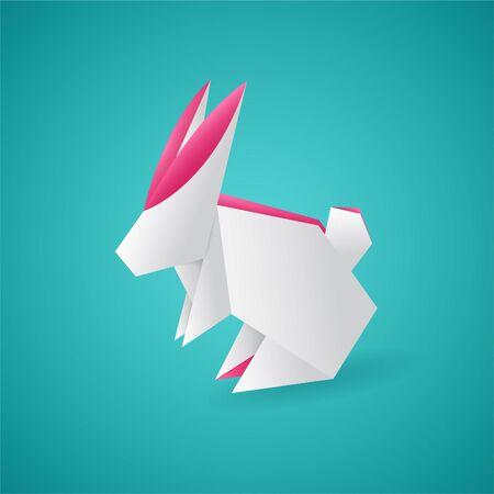 cartoon hare: Vector editable white origami hare. Cartoon illustration.