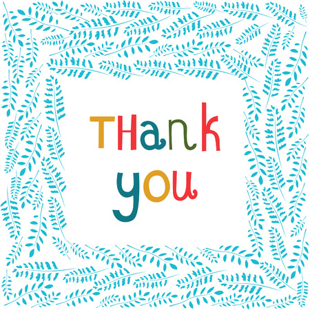 thank you card: Colorful thank you phrase in a frame of branches
