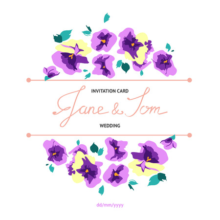 pansy: Invitation card with cartoon floral pansy bouquets