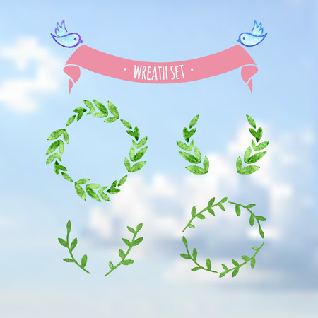 wreath set: Green vectorized watercolor wreath set on sky with birds and ribbon