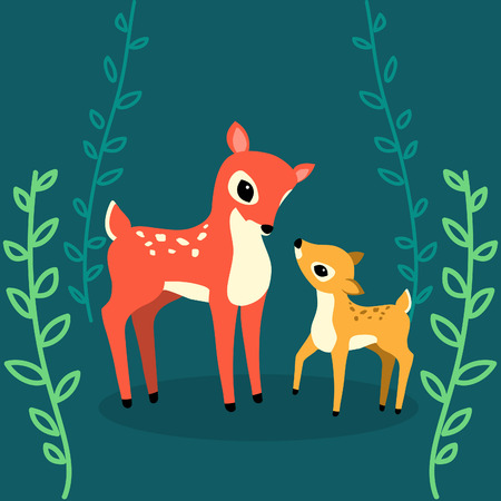 mother and baby deer: Cute vector deers in the forest. Colorful illustration