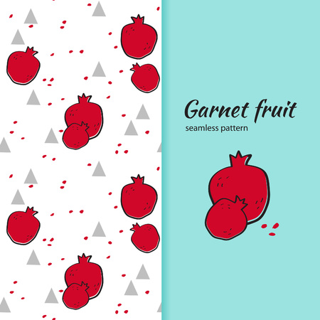 garnets: Hand drawn garnets and triangles. Vector seamless pattern