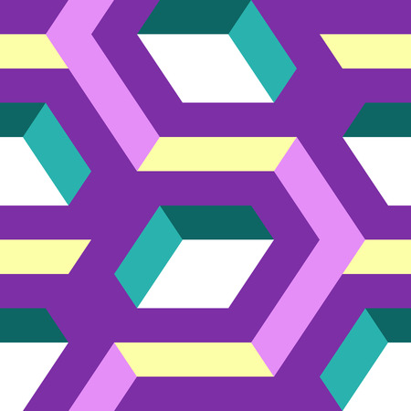 Abstract seamless geometric pattern with colored hexagons Vector Illustration