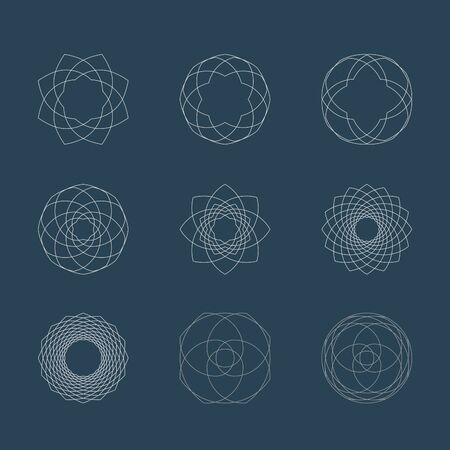 rosetta: Abstract guilloche vector circle elements. Signs for design Illustration