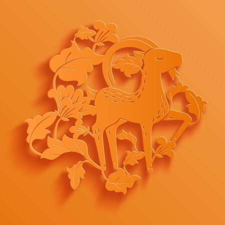 Vector traditional chinese goat in flowers paper cutting stylized vector vector traditional chinese goat in flowers paper cutting stylized illustration mightylinksfo
