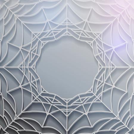 cobwebby: Abstract spiderweb design element. Gray shiny background