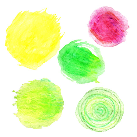 vectorized: Vectorized watercolor dots. Abstract colorful design elements