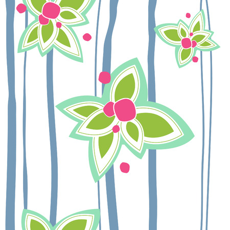 motif floral: Abstract seamless floral coloré avec des rayures Illustration
