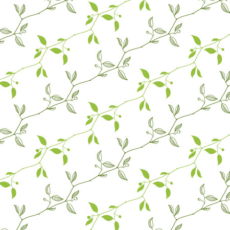 green branches: Vector natural seamless pattern with green branches