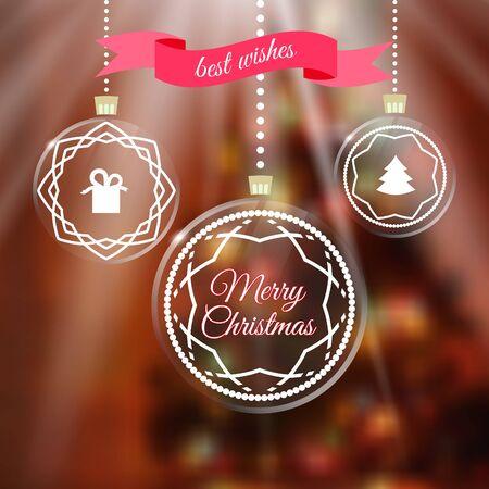merry chrismas: Merry Chrismas greeting card with Christmas balls Illustration