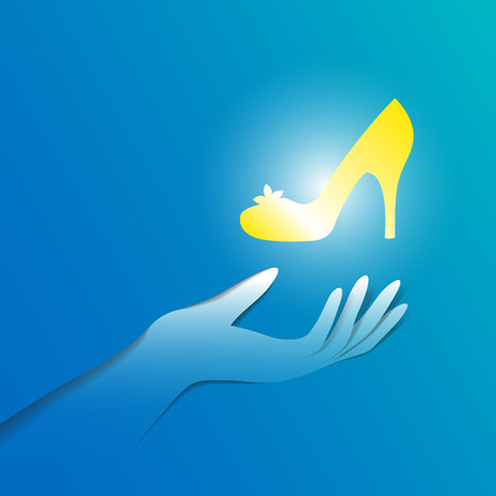 cinderella: Paper hand with shiny slipper. Cinderella shoe illustration