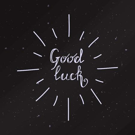 buena suerte: Buena tarjeta de la suerte. Vector mano concepto de presupuesto elaborado para las tarjetas de diseño