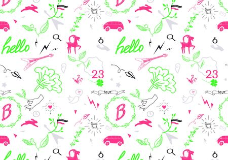 lightning arrow: Abstract seamless pattern with pink, green and black cartoon elements Illustration
