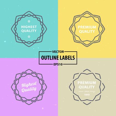mainstream: Outline retro labels set. Vector linear franes Illustration