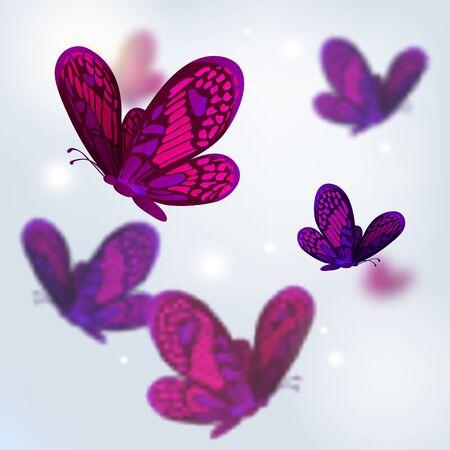flit: Flock of purple butterflies blurred vector background.
