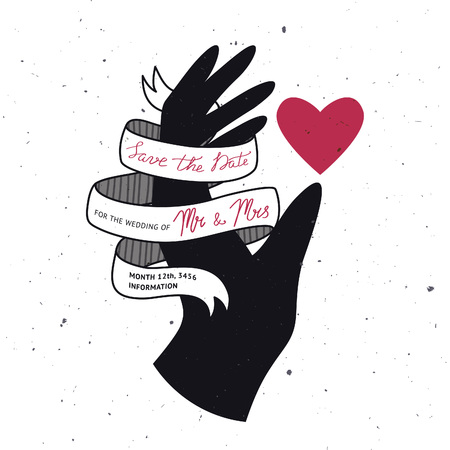 heavy heart: Creative wedding invitation with silhouette of hand, heart and ribbon