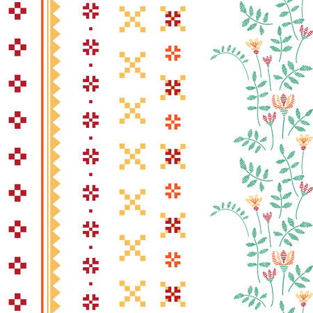 flower borders: Vector embroidery illustration. National geometric  and floral  ornaments set.