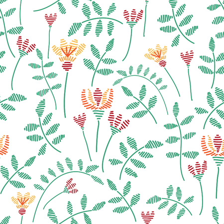 slavic: Fancywork natural vector seamless pattern with flowers and branches