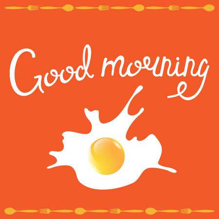 good health: Good morning phrase. Breakfast omelette vector illustration.