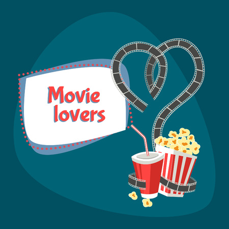 movie poster: Movie lovers. Vector illustration with film, heart, carton bowl full of popcorn and paper glass of drink with tubule Illustration