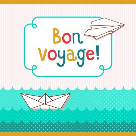 paper boat: Bon voyage card. Vector retro cartoon doodle illustration with paper boat and airplane.