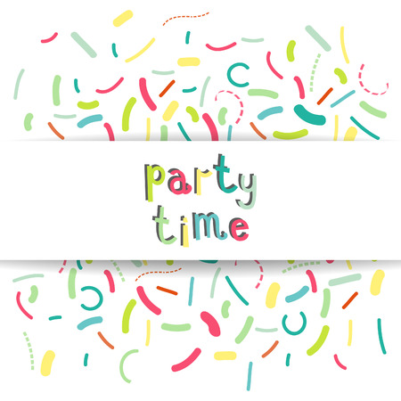 Colorful banner design with confetti and party time text. Vector illustration.  イラスト・ベクター素材