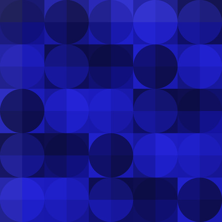 blue circles: Blue geometric squares and circles seamless pattern. Vector illustration.