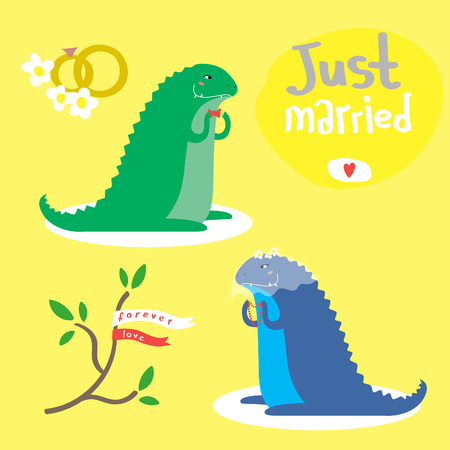 Cute cartoon vector set with two two dinosaurs  イラスト・ベクター素材