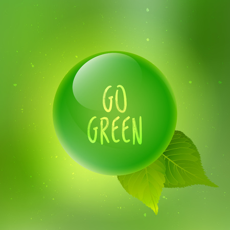 go green logo: Blurred natural background go green, eco badge, ecology label, organic logo with leaves. Vector  illustration for your design.