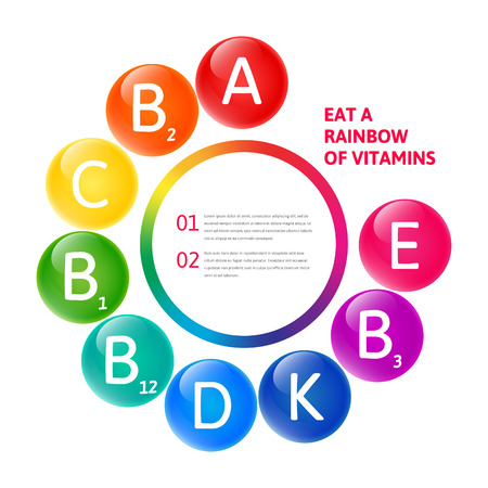 Vector kleurrijke set van de raibow gekleurde bubble vitaminen voor uw infographic. Cirkel illustratie. Stock Illustratie