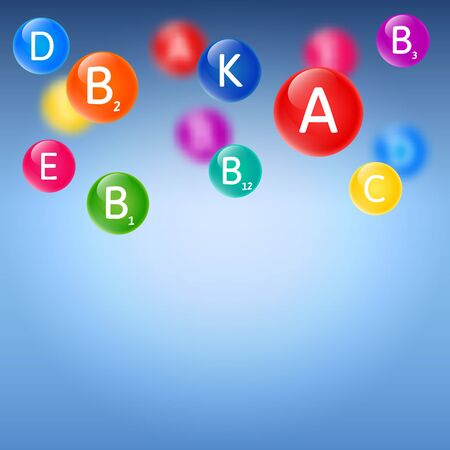 nutrientes: Azul borrosa fondo con la caída de las burbujas de vitaminas de color del arco iris. Ilustración vectorial sobre la salud, estilo de vida saludable y microelementos útiles. Vectores