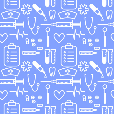 doctor tablet: Vector seamless pattern with outline hand drawn medical icons