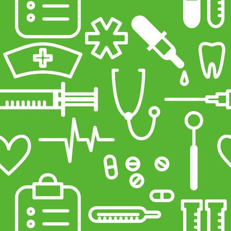 medical symbols: Vector seamless background with outline medical symbols