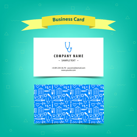 visiting card: Medical business card for doctors and nurses, template design. Vector illustration