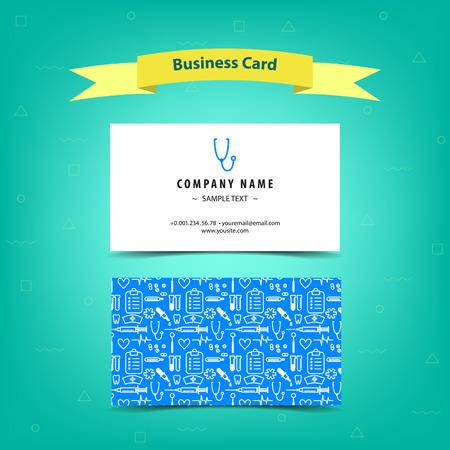 Medical business card for doctors and nurses, template design. Vector illustration