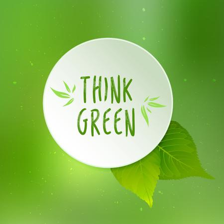Piense ilustración vectorial verde con hojas de papel, cirle y fondo verde borrosa Ilustración de vector