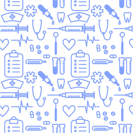 Seamless pattern with outline medical supplies. Vectpr background illustration.