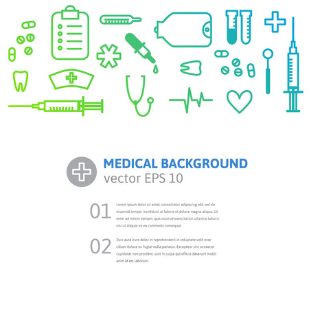 medical symbols: Medical outline background with stylised clinic instruments and symbols. Vector illustration for your design. Illustration
