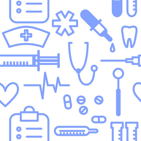 clinical: Medical seamless pattern with set of clinical instruments. Vector illustration.