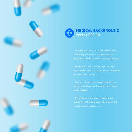 pastillas: ilustración vectorial médica con la caída de pastillas de color azul y blanco