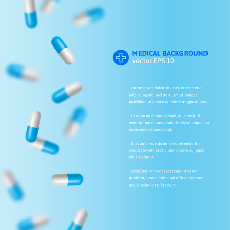 doctors with pills: Vector medical illustration with falling blue and white colored pills