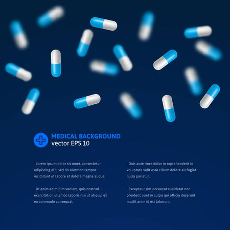 product background: Medical background with realistic falling pills. Vector illustration.