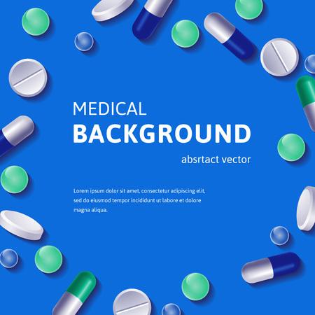 logo medicina: Antecedentes m�dicos con pastillas y vitaminas c�rculo planteado. Ilustraci�n del vector. Vectores