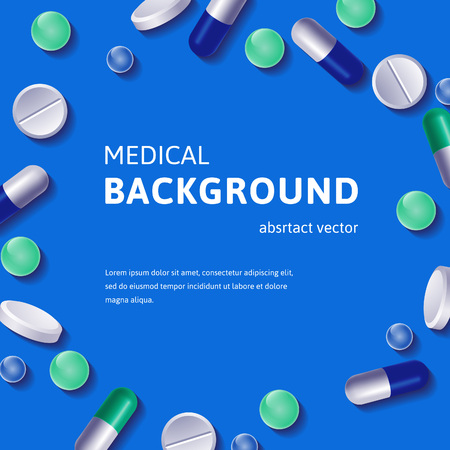 medicine logo: Medical background with circle posed pills and vitamins. Vector illustration.